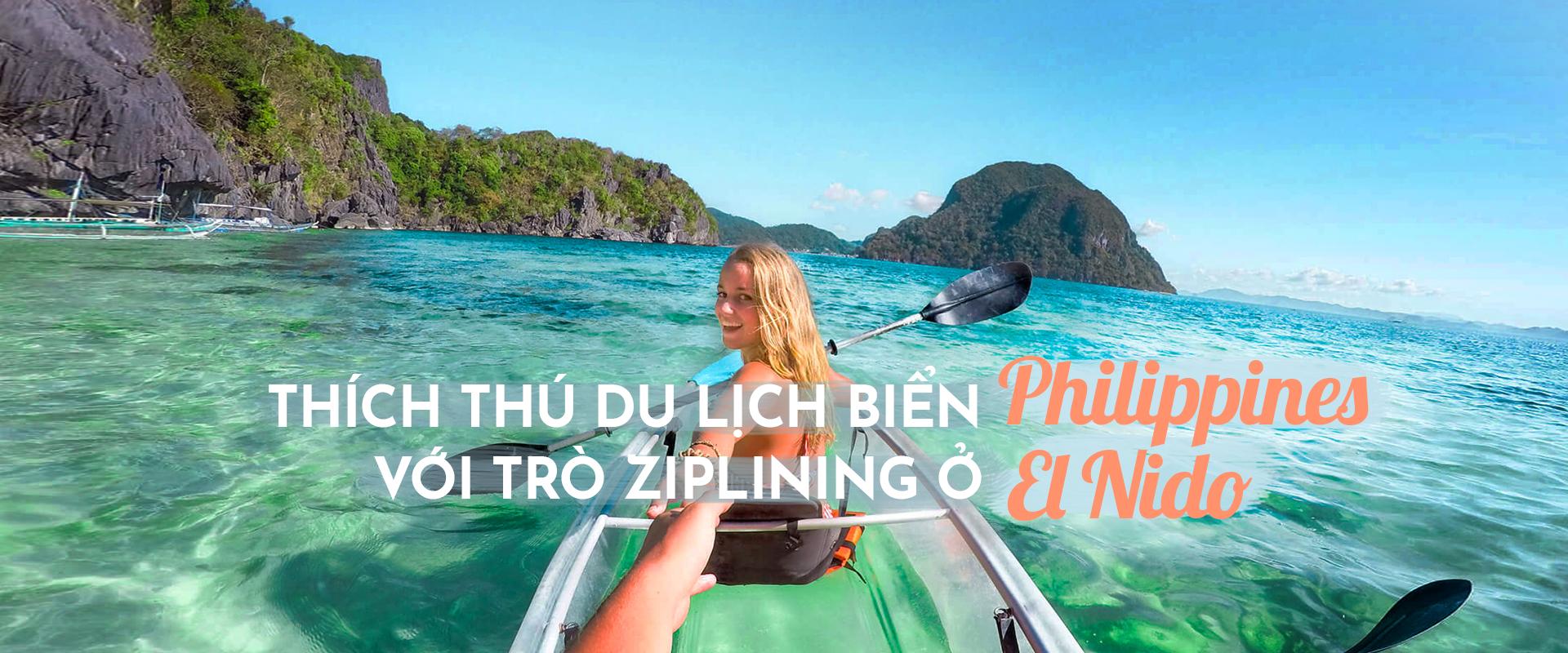 Thích thú du lịch biển Philippines với trò đu dây ở El Nido